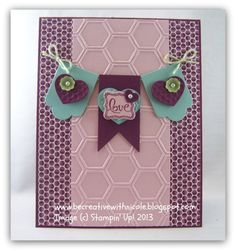 Razzleberry Hearts a Flutter stamp set & Framelits + Honeycomb Embossing folder + Ciao, Baby! stamp set + Petite Curly Label punch from SAB 2013