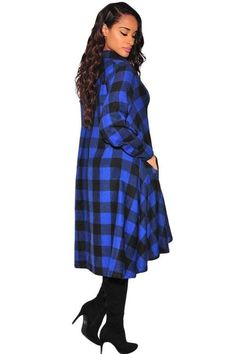 663bc6a7845cf Plaid Flared High Low Blouse Dress Corsage, Noir Style, Style Mode, Robes  Midi