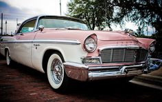 Gorgeous 1950's Chrysler New Yorker vintage car in pink & white