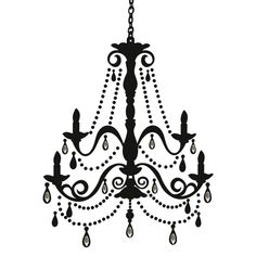 Elegant Chandelier Silhouette Giant Wall Decal D