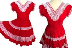 Bettina of Miami Red Square Dance Dress, Red Cotton White Lace Trim Patio Swing Dress, Red Festive Full Circle Rockabilly Pin Up Dress Pin Up Dresses, Dance Dresses, Fashion Dresses, Formal Dresses, Red And White Dress, Dress Red, Red Lace, White Lace, Vintage Western Wear