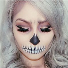 Cute & bold skull/ skeleton makeup for Halloween *no copyright to me I do not own*