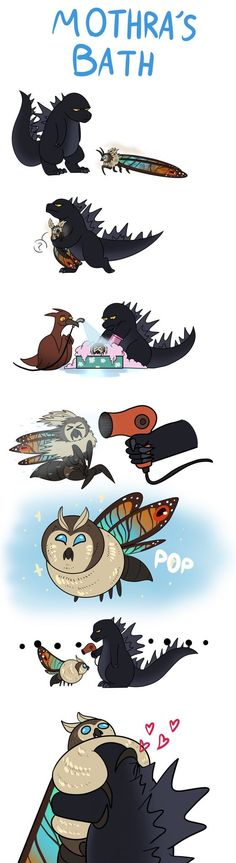 Mothra bath by Herakidpatrol on DeviantArt All Godzilla Monsters, Godzilla Comics, Godzilla 2, King Kong, Godzilla Franchise, Godzilla Wallpaper, Furry Comic, Chibi, Cute Dragons