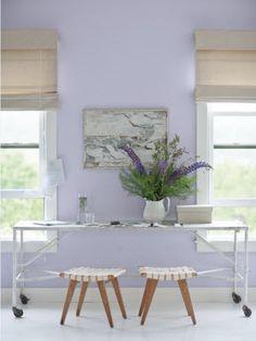 Benjamin Moore Lavender Mist part of our Color Trends 2014 palette. Aeva's new room colour? Trending Paint Colors, New Paint Colors, Interior Paint Colors, Interior Design, Modern Interior, Purple Interior, Interior Painting, Interior Decorating, Decorating Ideas