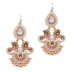 Chandelier Earrings with Pink Opal Gems Pink opal chandelier earrings are ideal for weddings and proms. These glorious statement earrings have the sweet look of a dreamy wedding cake iced to perfection. Our chandeliers are hand-adorned with intricate Pink Opal gems, baby pearls and bead chain for a blissful marriage of glamour and whimsy