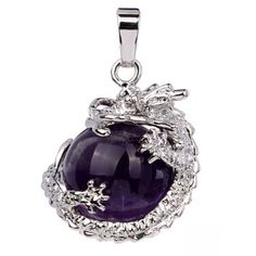 TGS Gems® Natural Amethyst Tumbled Gemstone Dangle Dragon Around Coin Charm Bead Pendant Fit DIY Jewelry Necklace