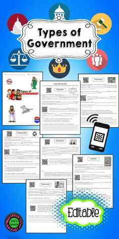 Types of Government QR Code Activity | Activities, Student and The ...