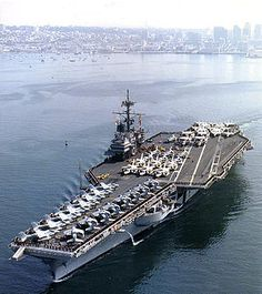 USS Ranger (CV-61) departing from San Diego - Dad's Aircraft Carrier when he was in the Navy.