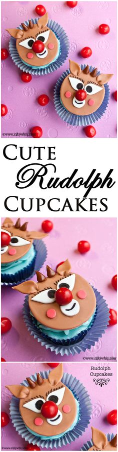 Adorable little RUDOLPH CUPCAKES with an easy video tutorial! From cakewhiz.com
