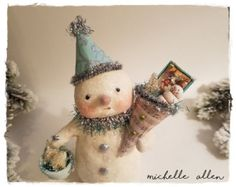 Folk Art paper Clay holiday SNOWMAN with Music sheet TUSSIE MUSSIE handmade by Michelle Allen / Raggedy Pants Designs