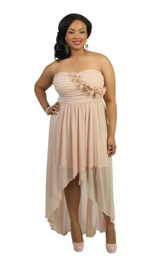 Deb Shops plus size strapless ruched flower sheer high low long #prom #dress