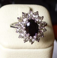 Exquisite Solid Sterling Silver, Dark Blue & Clear Sparkling Topaz Ring, Size 7.25