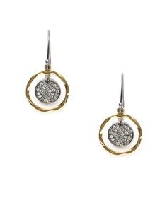 Dorie Love  Pave Diamond Open Circle Drop Earrings