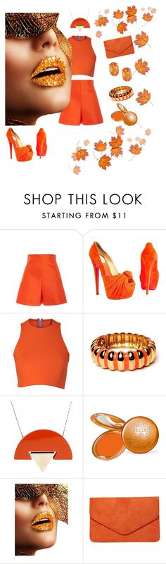 """""""My Best Orange 🎃"""" by watsonpleshette ❤ liked on Polyvore featuring Delpozo, Christian Louboutin, Sydney-Davies, Kenneth Jay Lane, Paolo Errico, Stila and Dorothy Perkins"""