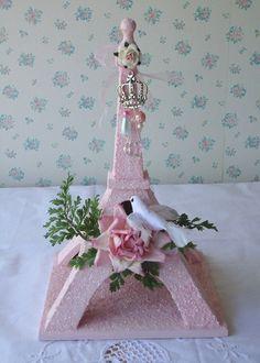 PINK ROSES - Shabby Eiffel Tower - Ooh la la