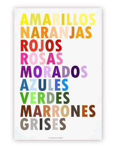 Set of 3 Colors Posters - Pick from English, French, Spanish, German, Italian, Hebrew, Russian 20 X 30 Prints. $100.00, via Etsy.