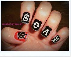 Sons of Anarchy #nail #nails #nailart I love painting my nails and I love SOA.. It's like a miracle :)