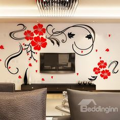 Alicemall Red Flower TV Wall Sticker Acrylic Red Blossom Floral Wall Sticker Chinese Style Removable TV Wall Art Decal Wall Mural For Living Room Decoration 47 x 275 Inch Multi Color 11384776 >>> To view further for this item, visit the image link. Creative Wall Painting, Creative Walls, Diy Wall Art, 3d Wall, Home Wall Art, Wall Stickers 3d, Wall Murals, Living Room Decor, Decoration