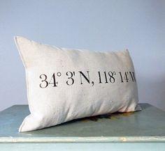 DIY idea: pillow with coordinates.