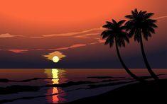 belle plage coucher de soleil avec des palmiers Beautiful Beach Sunset, Beautiful Beaches, Palm Tree Vector, Palmiers, Illustrations, Art Images, Palm Trees, Vector Art, Fantasy Art