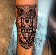 Sugar Skull Owl Tattoo Design Meaning Owl Skull Tattoos, Mens Owl Tattoo, Bird Tattoo Men, Forearm Tattoo Men, Dragonfly Tattoo, Animal Tattoos, Tattoo Owl, Bird Tattoos, Tatoos