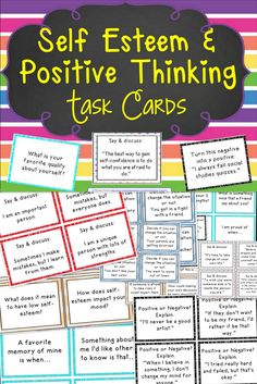 Positive Thinking Task Cards 116 task cards focusing on improving self-esteem, confidence building, and encouraging positive thinking task cards focusing on improving self-esteem, confidence building, and encouraging positive thinking skills. Self Esteem Activities, Counseling Activities, Therapy Activities, Confidence Building Activities, Self Esteem Worksheets, Anger Management Activities, Building Self Esteem, Team Building Activities, Behavior Management