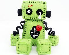 Items similar to Zombie Robot Plush with Stitches and a Red Heart - Halloween Decor - Gift Idea on Etsy Sewing Toys, Sewing Crafts, Sewing Projects, Felt Diy, Felt Crafts, Diy For Kids, Crafts For Kids, Ugly Dolls, Felt Patterns