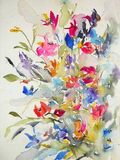 "Saatchi arte artista Karin Johannesson; Pintura #art, ""Summer Garden IV"""