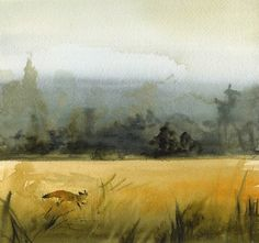 landscape painting gold ochre grey decor by amberalexander on Etsy, $20.00