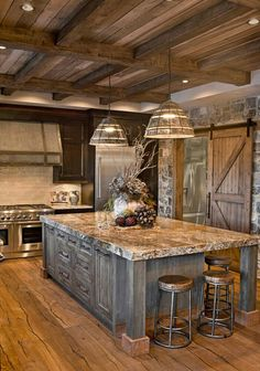 Next Post Previous Post 27 Cabinets for the Rustic Kitchen of Your Dreams Sierra Escape Rustic Wood & Stone Kitchen. Barn House, House Design, Rustic Kitchen Design, Building A House, Rustic Country Kitchens, New Homes, Log Homes, Stone Kitchen, Rustic House