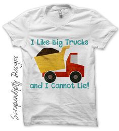 Boys Birthday Iron on Shirt PDF - Dump Truck Iron on Transfer / I Like Big Trucks Shirt / Kids Clothing Tshirt / Funny Kids Clothes IT236-C on Etsy, $2.50