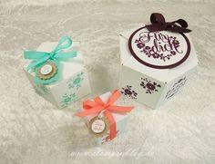 Schachteln mit dem Stanz- und Falzbrett für Geschenktüten, STampin' UP!, Stampinblog, Einfach Toll, Hexagon-Box, Pentagon-Box, Brombeermousse, Calypso, Jade
