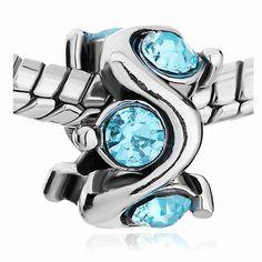 Aquamarine Crystal  Spacer Bead for European Style Charm