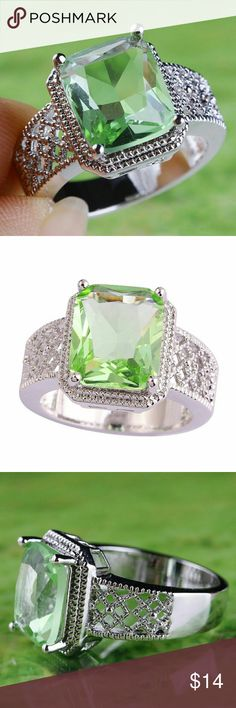 Sterling Plated Green Amethyst Fashion Ring Size 9 This is a lovely statement piece of jewelry. It is a sterling plated green amethyst ring in a size 9. Jewelry Rings
