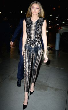 Gigi Hadid Just Wore a Completely Sheer Julien Macdonald Jumpsuit in NYC on February 16, 2016