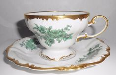 Rosenthal Pompadour Footed Teacup & Saucer Green Gold Open Flowers #Roenthal