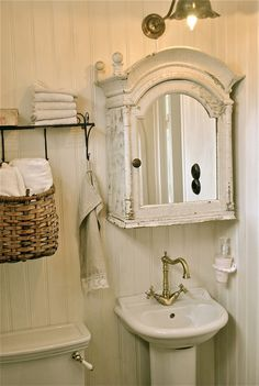 Great look for a small bathroom!