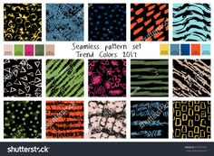Vector spring seamless pattern set in trend colors. Hand drawn colorful collection  pattern, seamless, hipster, 2017, grunge, shape, trend, abstract, art, backdrop, background, brush, collection, color, colorful, colourful, creative, decoration, decorative, drawing, drawn, element, fabric, geometric, graphic, hand, illustration, ink, ornament, ornamental, paint, repeat, set, spring, template, textile, texture, vector, wallpaper