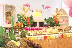 Sweet Table from a Tropical Hawaiian Flamingo Party via Kara's Party Ideas | KarasPartyIdeas.com (10)