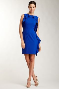 Boat Neck Dress with Ruffle Trim