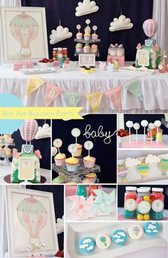 Hot Air Balloon themed baby shower via Kara's Party Ideas KarasPartyIdeas.com Cake, cupcakes, printables, supplies, favors, recipes, and mor...