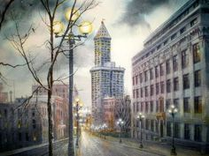 Watercolor painting Smith Tower