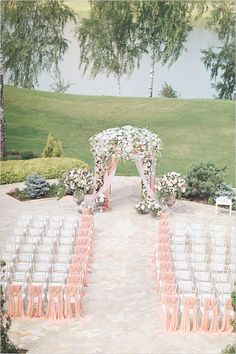 floral wedding arch #pinkceremony @weddingchicks