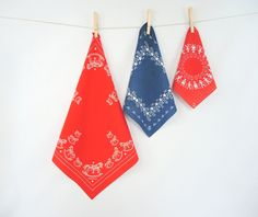 Vintage Bandana Doilies set of 3 Made in Germany Rocking Horse Milk Maids Children Red & Blue Kids Accessories Table Linens Quilting Supply by injoytreasures on Etsy