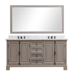 Water Creation Greenwich 72 in. W x 22 in. D Vanity in Gray with Marble Vanity Top in White with White Basins and Mirror
