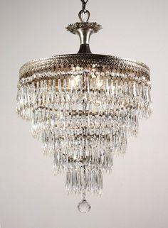 Superb Antique Silver Plated Five-Tier Chandelier with Prisms Silver Chandelier, Chandelier Lighting, Chandeliers, Restore, Sparkles, Antique Silver, Silver Plate, Restoration, Decor Ideas