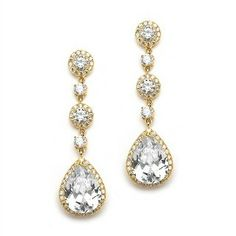Gold Pear-Shaped Drop Bridal Earrings with Pave CZ