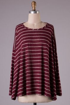 Long sleeve striped loose fit top