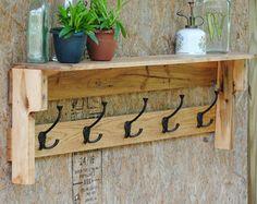 Coat Rack Rustic Coat Rack with Shelf Hand by revampedandrevived