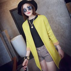 2015 spring women 's round neck long spell color pocket knit cardigan USD$31.33